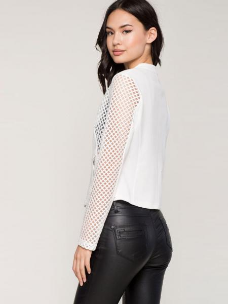 Zipper Long Sleeves Sheer Mesh Splicing Light Weight Summer Short Jacket