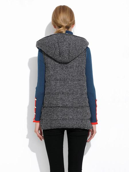 Zipper Loose Fit Quilted Thick Ladies Winter Vests Coat with Hood