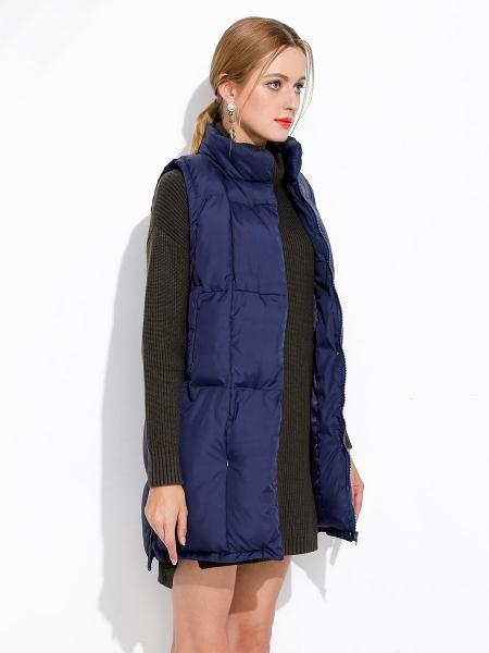 Zipper & Press Studs Loose Fit Stand Collar Puffy Thick Women Vest Coat