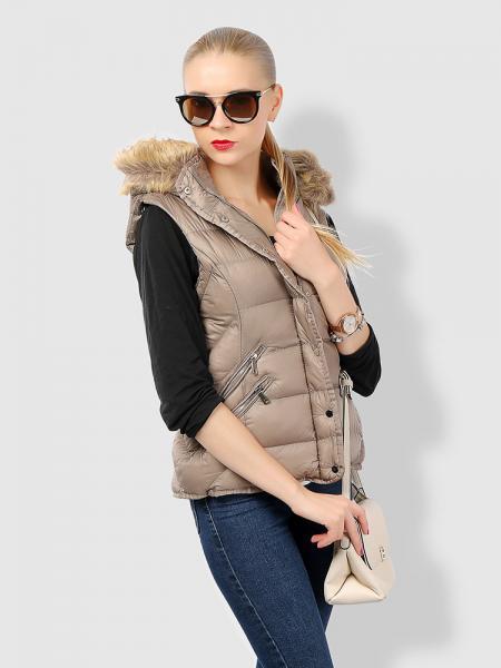 Zipper & Press Studs Puffer Short Padded Hooded Vest Coat for Women