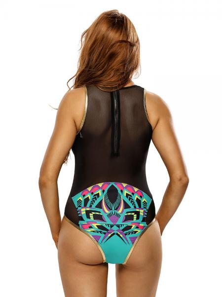 Cartoon Flamingo Printed Black Mesh Insert High-cut Legs Padded 1 Piece Swimsuit