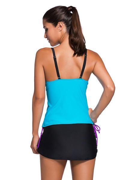 Contrast Layered Color-block Ruched & Padded Tankini with Skort Bottom Swimsuit