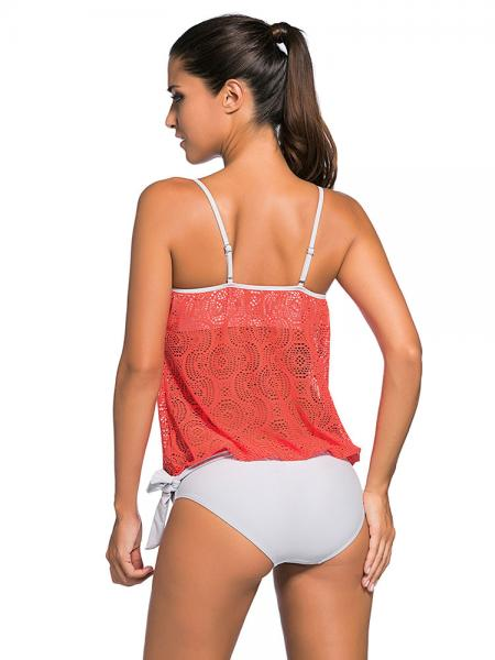 Lace Overly Pullover Sun Protection Low-waisted Padded Bandeau Tankini Swimsuit