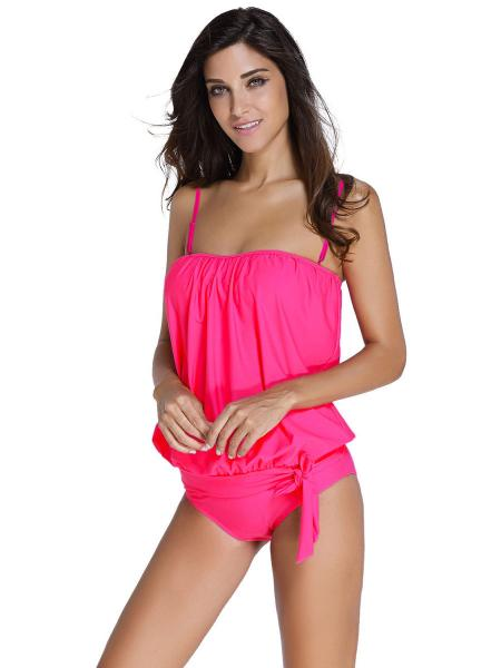 Pullover Blouse Style Sun Protection Low-waisted Padded Bandeau Tankini Swimsuit