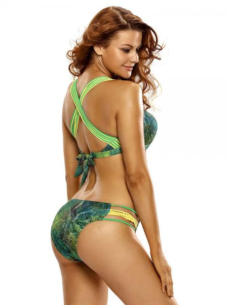 Vibrant Tropical Leopard Printed Underwired & Padded Push-up Bikini for Women