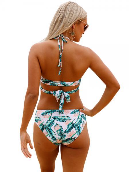 Bohemian Style Printed Halter Neckline Padded Cross Wrap Front Bikini Bathing Suit