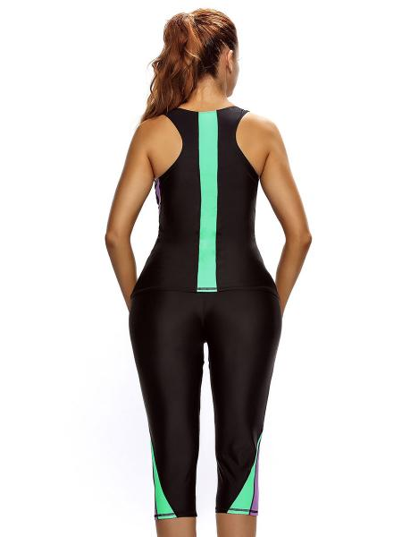 Color Block Waterproof Removable Bra Padding Athletic Tankini with Cropped Pants