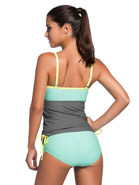 Colorblock Ruched Details Underwired and Bra Padding Bandeau Tankini Swimsuit