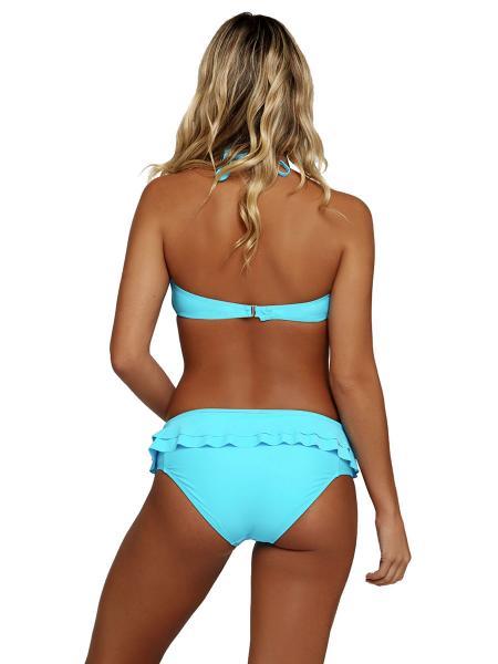 Halter Neckline Bra Padding Low-rise and High Cut Legs Ruffles Bikini for Lady