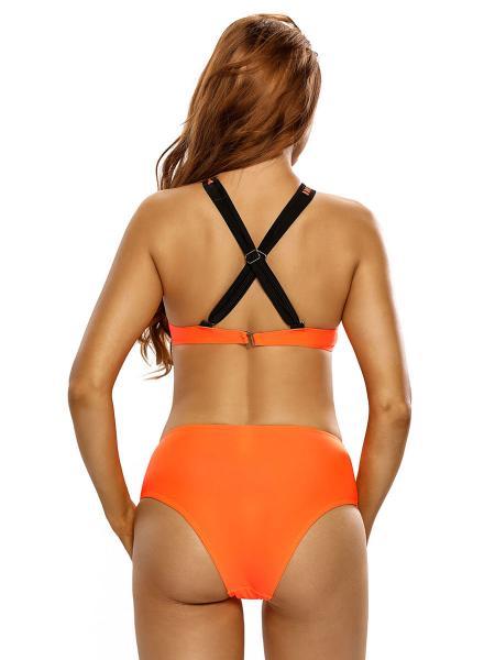 High Neckline Cross Back Underwired & Padded High-cut Legs Full Coverage Bikini