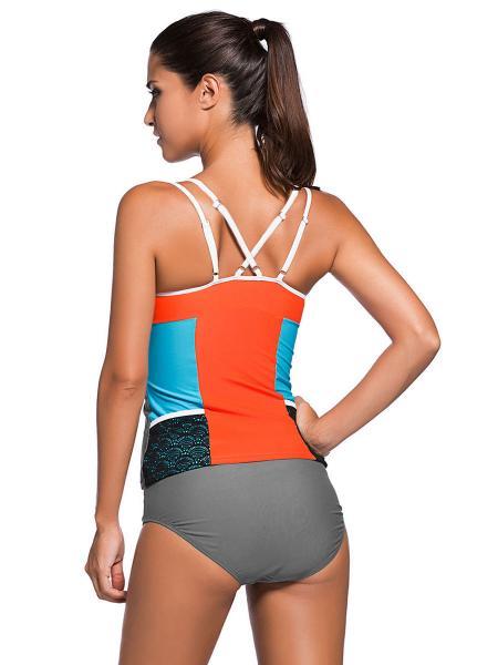 Lace Splicing Color Block Removable Bra Padding Full Coverage Womens Tankini Set