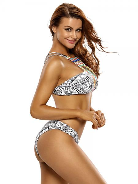 Printed High Neckline Double Shoulder Straps Padded Low-waisted Bikini Swimsuit