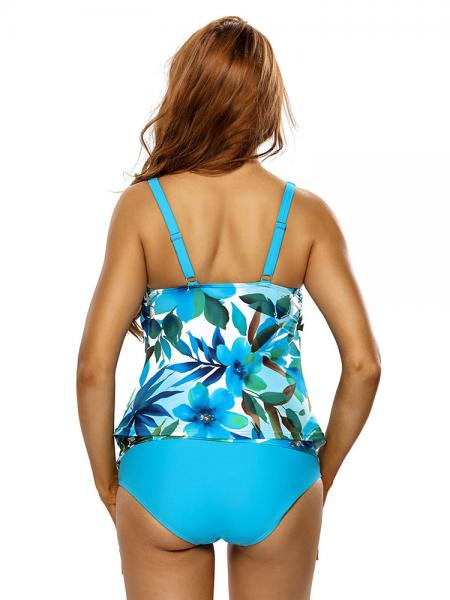 A-line Silhouette Scoop Neckline Floral Printed Bra Padding Full Coverage Tankini