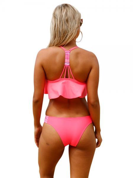 Bright Coral Racerback Bra Padding Ruffled Overlayer Low Waisted Women's Bikini