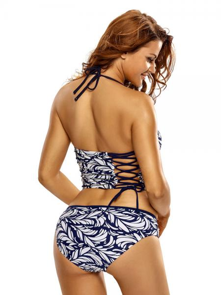 Halter Neckline Bra Padding and Underwired Printed Longline Tankini Swimwear Set