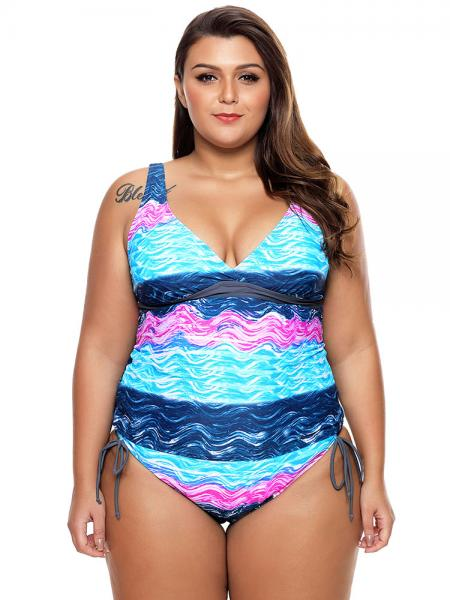 a20a19be25 ... Unique Waves Printing Deep-v Neckline Bra Padding Lacing Sides Tankini  Swimsuit ...