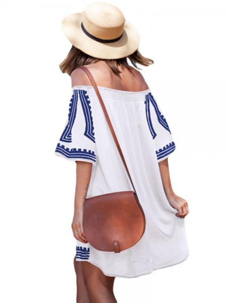 Bohemian Inspired Vibe Geometric Printed Off Shoulder Half Sleeves Beach Dress