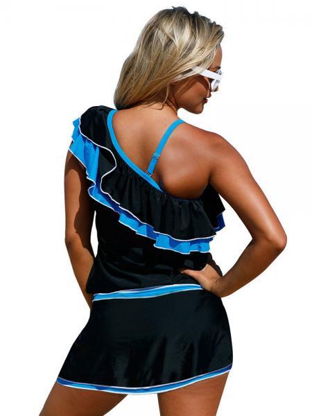 Layered Sexy One-shoulder Ruffled & Padded Wrap Style Skirted Tankini Swimsuit