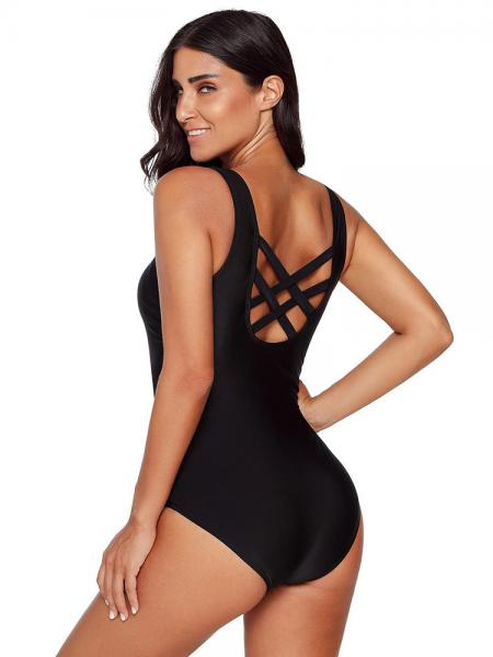 Round-neck Padding Cups & Crossed Straps Cutout Back One Piece Swimwear Women