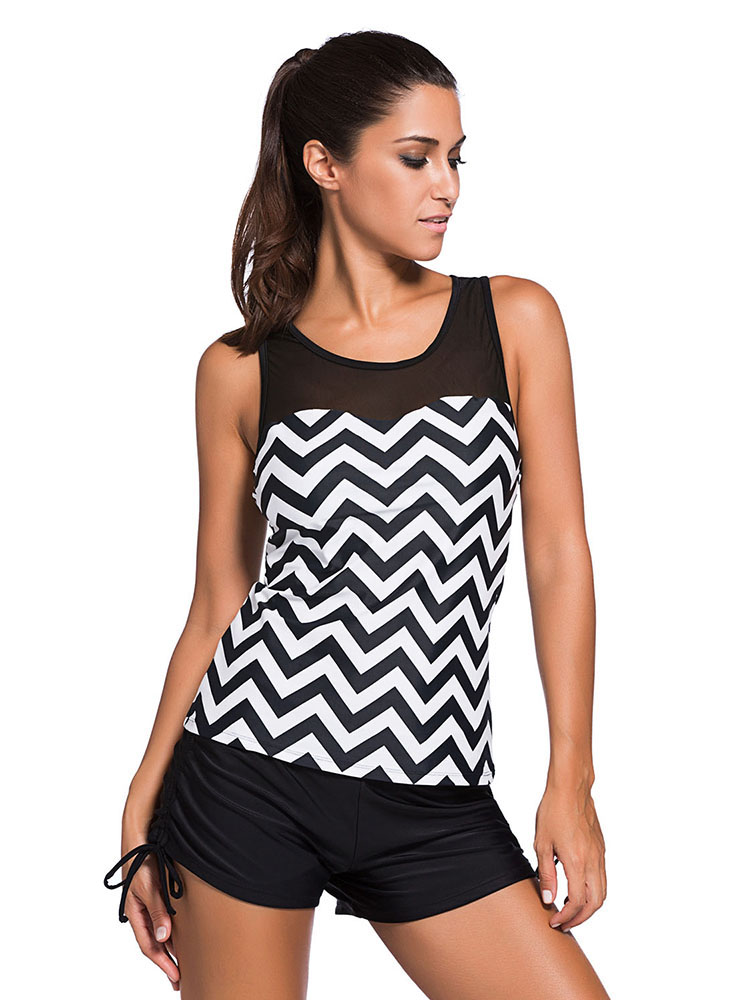 Printed Mesh Insert Sporty Racerback Padded Women Tankini Top