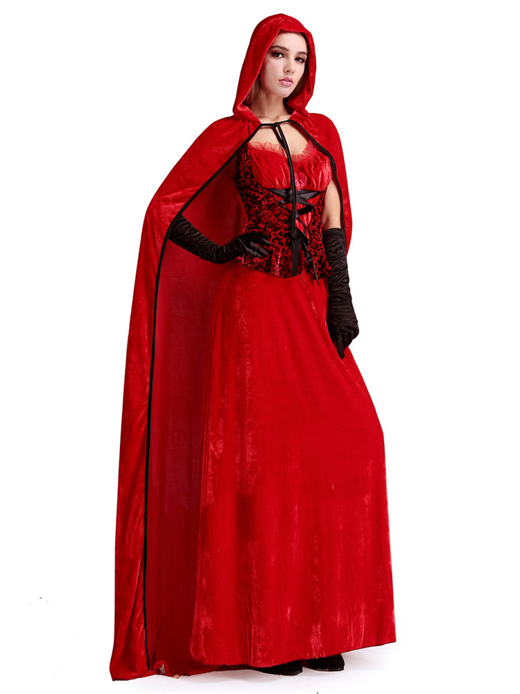 Pieces christmas fancy dress costumes for women red black