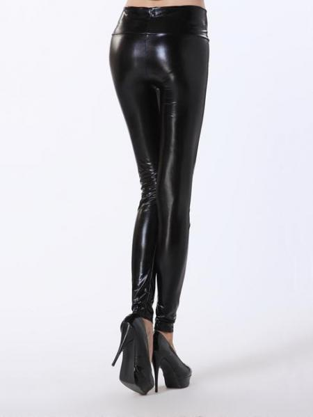 Black High Waist Skinny Stretch Silver/Gold/Black Liquid Leggings