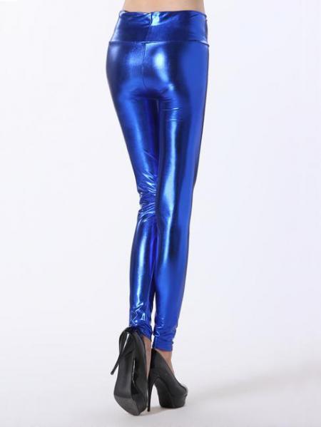 Blue High Waist Skinny Stretch Silver/Gold/Black Liquid Leggings