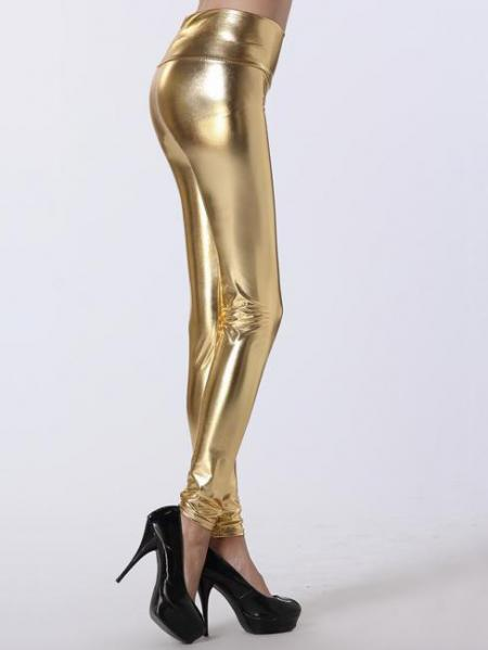 Gold High Waist Skinny Stretch Silver/Gold/Black Liquid Leggings