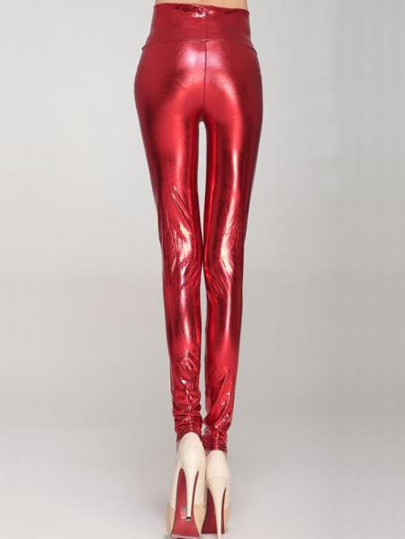 Red High Waist Skinny Stretch Silver/Gold/Black Liquid Leggings