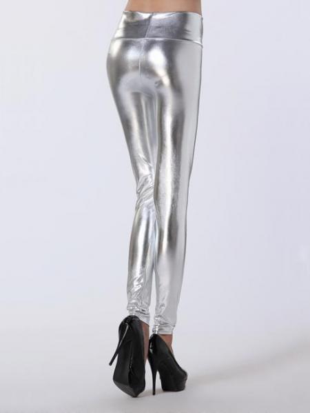 Silver High Waist Skinny Stretch Silver/Gold/Black Liquid Leggings