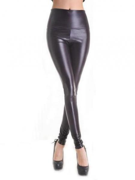 Black Vilanya PVC Slim Faux Leather Sexy Leggings
