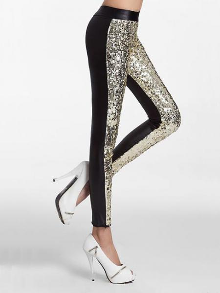 Golden Black Slim Glittering Sporty Sparkly Front Black Sequin Leggings