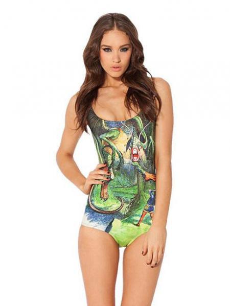 Green Summer Dinosaur Digital Print One Piece Swimsuits Juniors