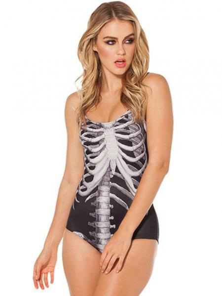Black White Cool Black Mechanical Ribs Teddy Unique One Piece Swimwear