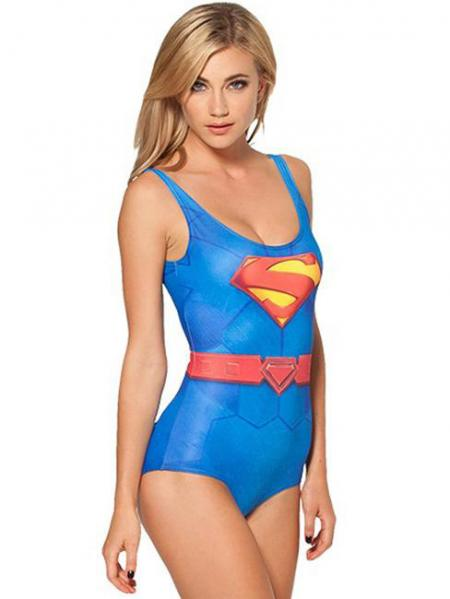Blue Red Summer Scoop Neck Superman Smart One Piece Swimwear