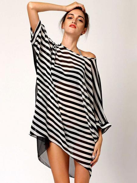 Black White Summer Oversized Relaxed Fit Black White Stripes Sleeved Thin Beach Caftan Cover Up