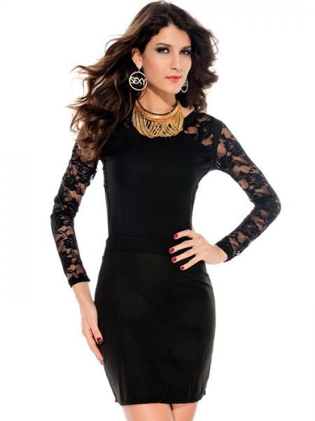 Black Vilanya Sexy O-neck High Waist Lace Embroidery Backless Polyester Long Sleeve Black Mini Dress