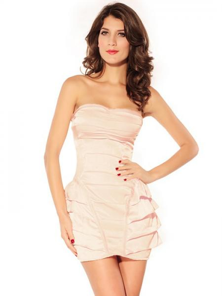 Pink Vilanya Girls Strapless High Waist Ruffles Sleeveless Polyester Draped Cute Mini Dress