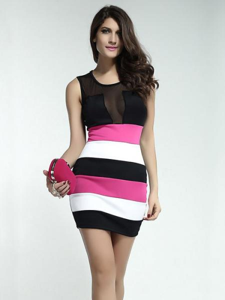 Black Pink White Polyester High Waist Sleeveless Hollow Out Sexy Mesh Skinny Tank Mini Dresses