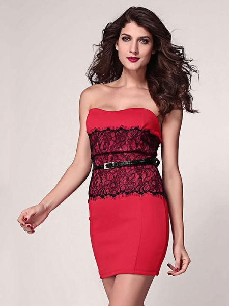 bbe2454e2 ... Red High-waisted Lace Appliques Strapless Eyelash Waist Cincher Bodycon  Mini Dresses