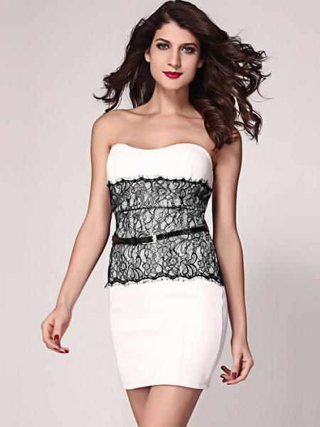 ab28c515e ... White High-waisted Lace Appliques Strapless Eyelash Waist Cincher  Bodycon Mini Dresses ...