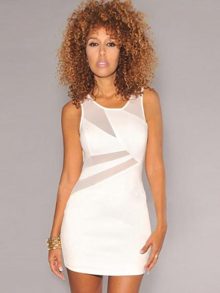 White Vilanya Round Neck Mesh Splice Cut Out Back Sleeveless Mini Dress Girl