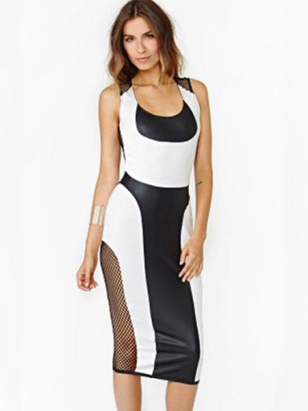 Black White High-waisted Sleeveless Unlined Zipper Back Hollow Out Mesh Stretchy Womens Midi Dress