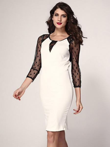Beige Black Beige Sheer Three Quarter Mesh Sleeve High-waisted Zipper Back Midi Dresses For Women
