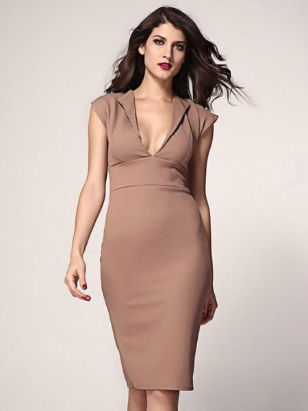 Khaki Vilanya Plunging Deep V-neck High Waisted Concealed Zipper Polyester Midi Dress Online