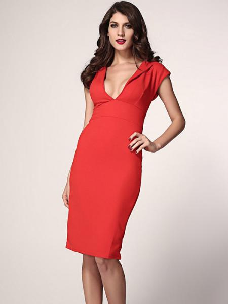Red Vilanya Plunging Deep V-neck High Waisted Concealed Zipper Polyester Midi Dress Online