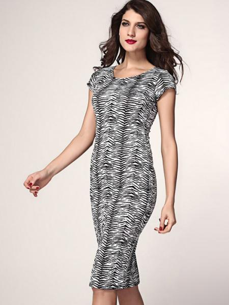 Black White Vilanya Women High Waisted Round Neck Short Sleeve Zebra Print Slim Cheap Midi Dress