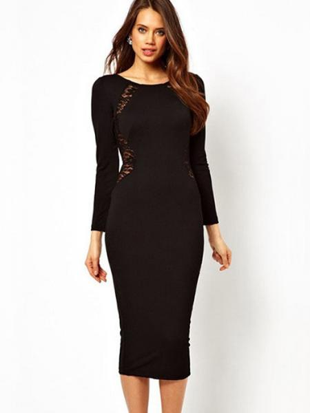 Black Classic Round Neck Long Sleeve High Waisted Zipper Lace Inset Back Stretchy Midi Dresses