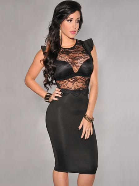 Black Vilanya Sexy High Waist Sheer Lace Top Ruffles Sleeves Zipper Back Stretchy Midi Dresses