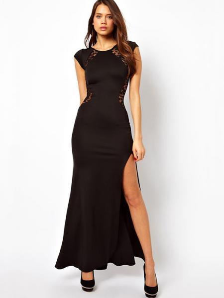 Black Vilanya Black High Waist Lace Back Fishtail Polyester Thigh-high Split Cap Sleeve Maxi Dress